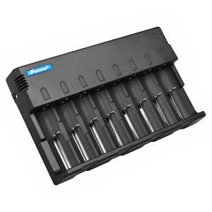 Foxnovo F08 8-Slots Li-ion Ni-MH Ni-CD Universal Intelligent Battery Charger with LED Indicators, 5V USB Output & US-Plug Power Adapter (Black)