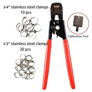 "IWISS PEX CINCH Crimping Tool Crimper for Stainless Steel Clamps from 3/8""to 1"" with 1/2"" 20PCS and 3/4"" 10PCS SS PEX Clamps"