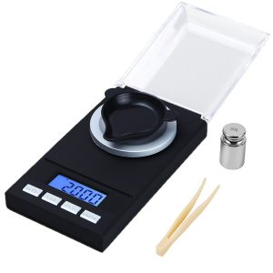WAOAW Digital Milligram Scale 50 X 0.001g Reloading Jewelry Scale Digital Weight with Calibration Weights Tweezers and Weighing Pans (Batteries included)